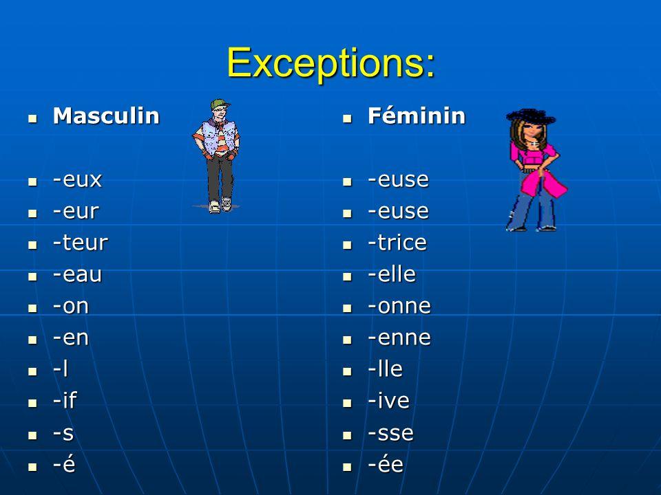 Exceptions: Masculin Masculin -eux -eux -eur -eur -teur -teur -eau -eau -on -on -en -en -l -l -if -if -s -s -é -é Féminin Féminin -euse -euse -trice -