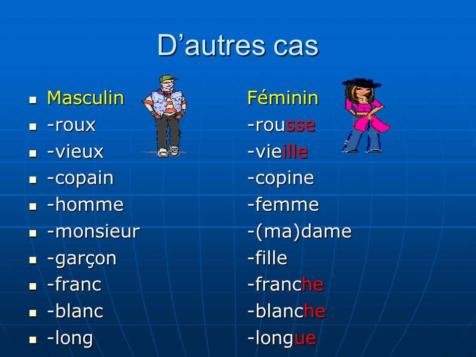 Dautres cas Masculin Masculin -roux -roux -vieux -vieux -copain -copain -homme -homme -monsieur -monsieur -garçon -garçon -franc -franc -blanc -blanc
