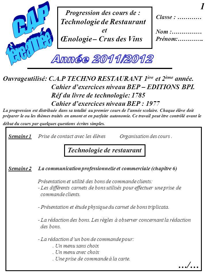Progression des cours de : Technologie de Restaurant et Œnologie – Crus des Vins Classe : ………… Nom :…………… Prénom:…………. Semaine 1 Prise de contact avec