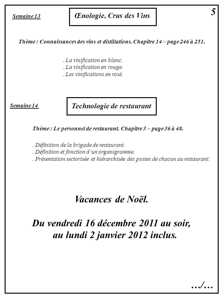 5 Semaine 13 Œnologie, Crus des Vins Thème : Connaissances des vins et distillations. Chapitre 14 – page 246 à 251.. La vinification en blanc.. La vin