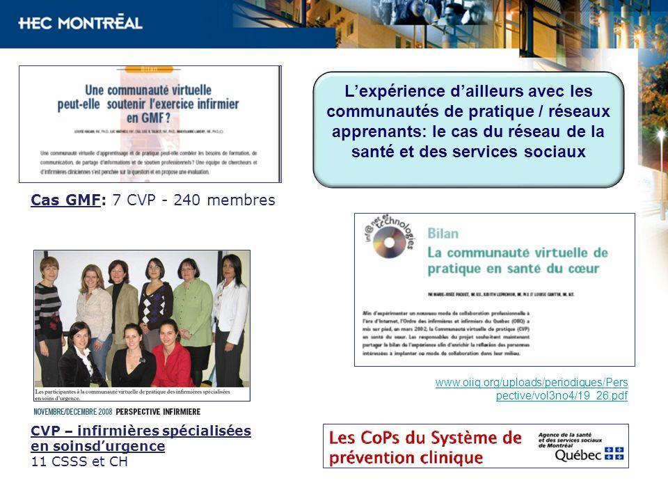 CVP – infirmières spécialisées en soinsdurgence 11 CSSS et CH Cas GMF: 7 CVP - 240 membres www.oiiq.org/uploads/periodiques/Pers pective/vol3no4/19_26
