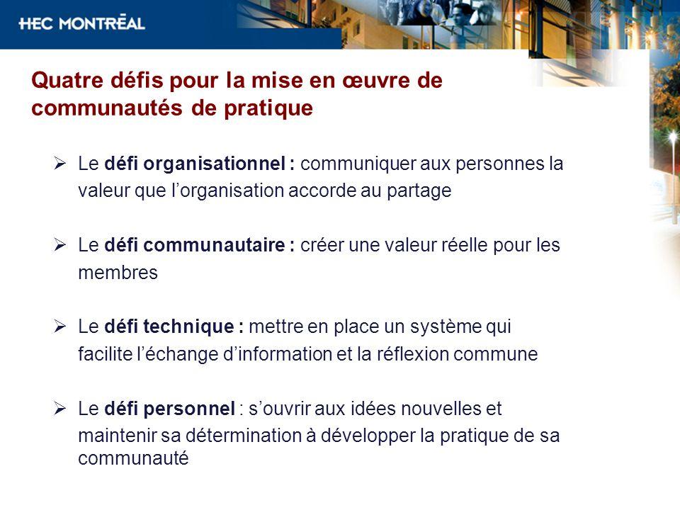 Quatre défis pour la mise en œuvre de communautés de pratique Le défi organisationnel : communiquer aux personnes la valeur que lorganisation accorde