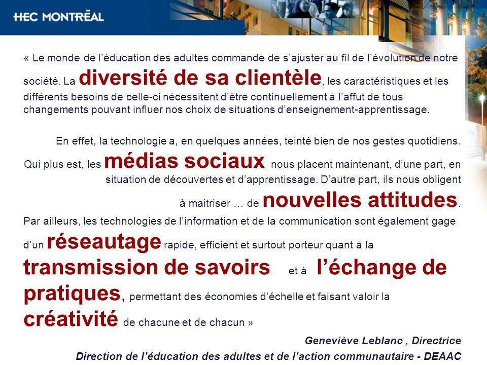 Sur la Génération C et tendances médias sociaux –NetTendances (CEFRIO) www.cefrio.qc.ca/publications/liste-des- publications/categorie/netendanceswww.cefrio.qc.ca/publications/liste-des- publications/categorie/netendances –Génération C www.cefrio.qc.ca/publications/liste-des- publications/categorie/generation-c/www.cefrio.qc.ca/publications/liste-des- publications/categorie/generation-c/ –Site de Danah Boyd (experte mondiale des médias sociaux) http://www.danah.org/ –Site de Michelle Blanc http://www.michelleblanc.com/ –Site de Burson-Marseller http://www.burson-marsteller.com/default.aspx –Site eMarketer http://www.emarketer.com/ –Site de Médiamétrie http://www.mediametrie.fr/internet/