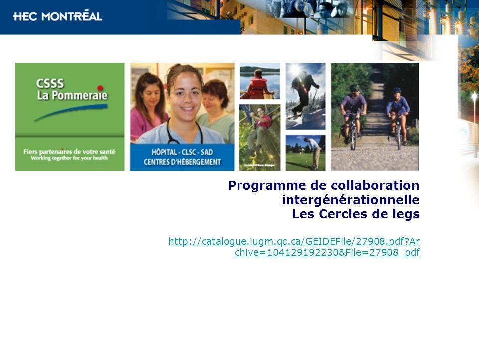 Programme de collaboration intergénérationnelle Les Cercles de legs http://catalogue.iugm.qc.ca/GEIDEFile/27908.pdf?Ar chive=104129192230&File=27908_p