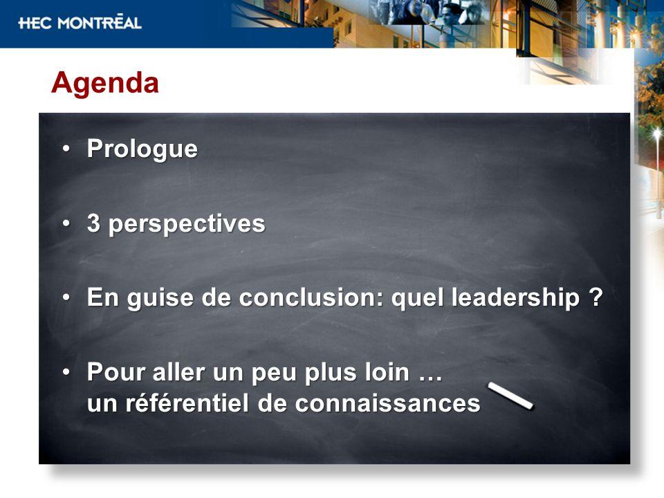 Agenda ProloguePrologue 3 perspectives3 perspectives En guise de conclusion: quel leadership ?En guise de conclusion: quel leadership ? Pour aller un