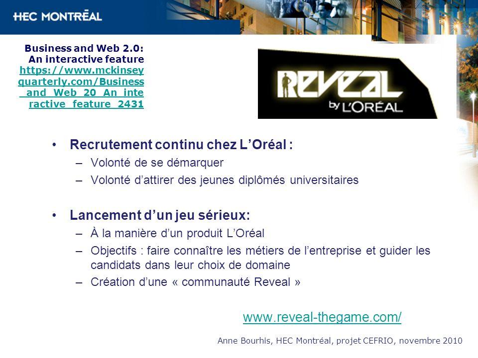 Recrutement continu chez LOréal : –Volonté de se démarquer –Volonté dattirer des jeunes diplômés universitaires Lancement dun jeu sérieux: –À la maniè