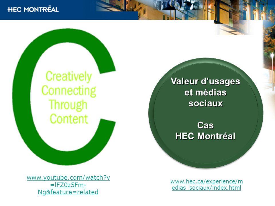 Valeur dusages et médias sociaux Cas HEC Montréal Valeur dusages et médias sociaux Cas HEC Montréal www.hec.ca/experience/m edias_sociaux/index.html w