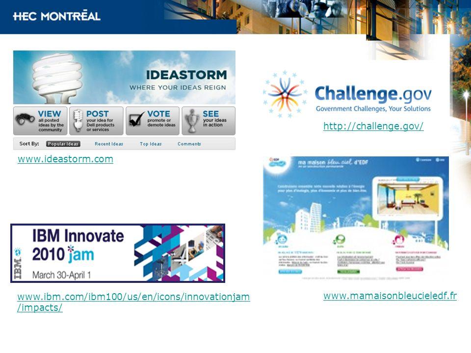 www.ideastorm.com www.ibm.com/ibm100/us/en/icons/innovationjam /impacts/ http://challenge.gov/ www.mamaisonbleucieledf.fr