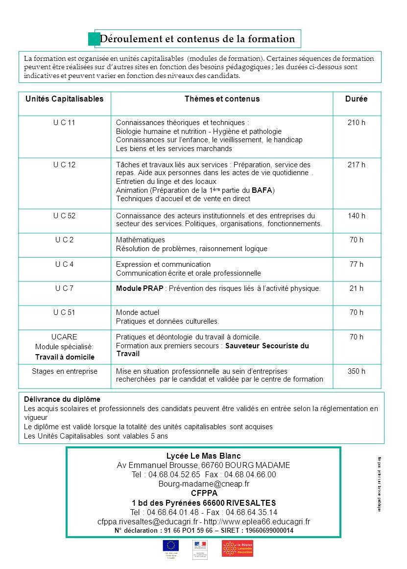 Unités CapitalisablesThèmes et contenusDurée U C 11Connaissances théoriques et techniques : Biologie humaine et nutrition - Hygiène et pathologie Conn