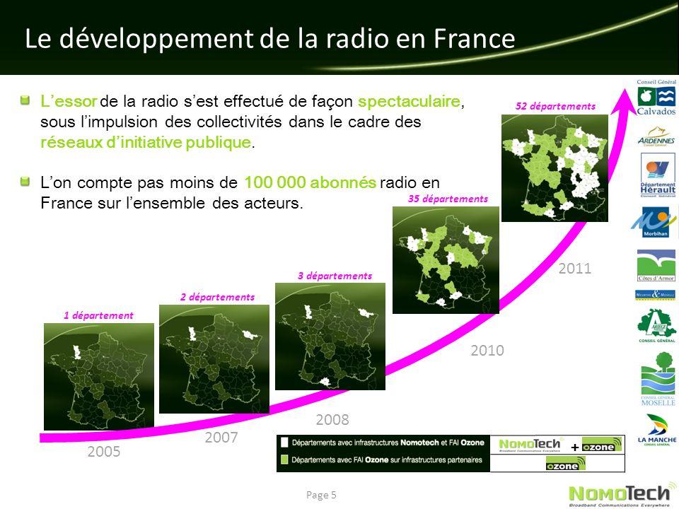 Le développement de la radio en France Page 5 2005 2007 2008 2010 2011 1 département 2 départements 3 départements 35 départements 52 départements + L