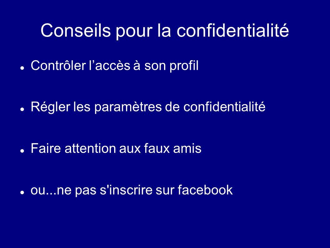 Conseils pour la confidentialité Contrôler laccès à son profil Régler les paramètres de confidentialité Faire attention aux faux amis ou...ne pas s'in