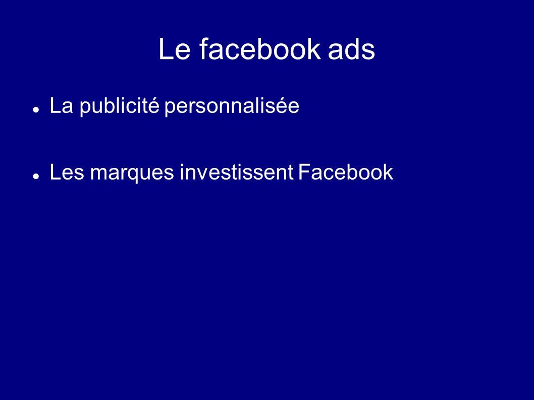Le facebook ads La publicité personnalisée Les marques investissent Facebook