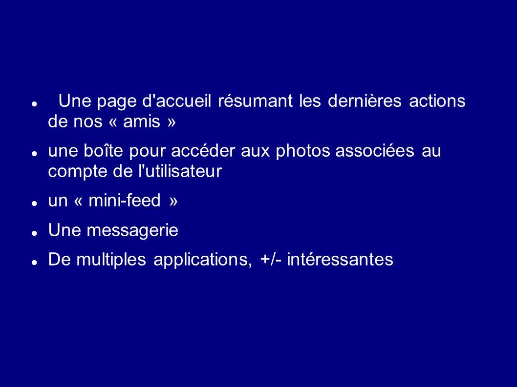 Une page d'accueil résumant les dernières actions de nos « amis » une boîte pour accéder aux photos associées au compte de l'utilisateur un « mini-fee