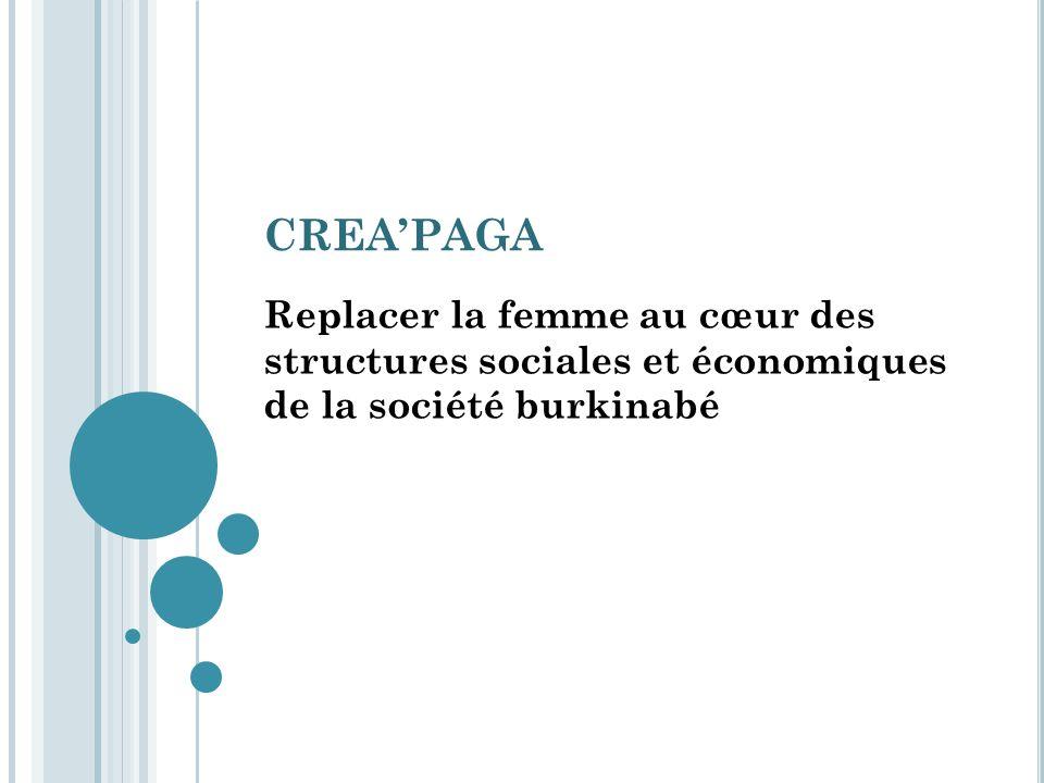 CREAPAGA Replacer la femme au cœur des structures sociales et économiques de la société burkinabé
