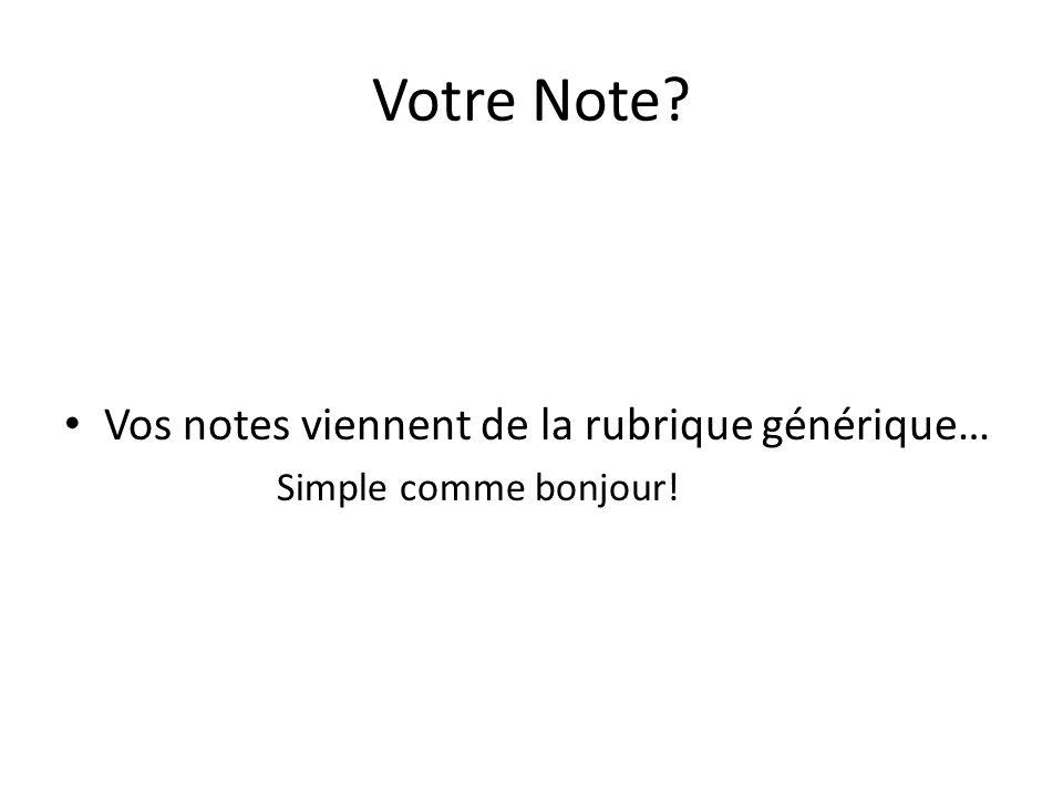 Votre Note Vos notes viennent de la rubrique générique… Simple comme bonjour!