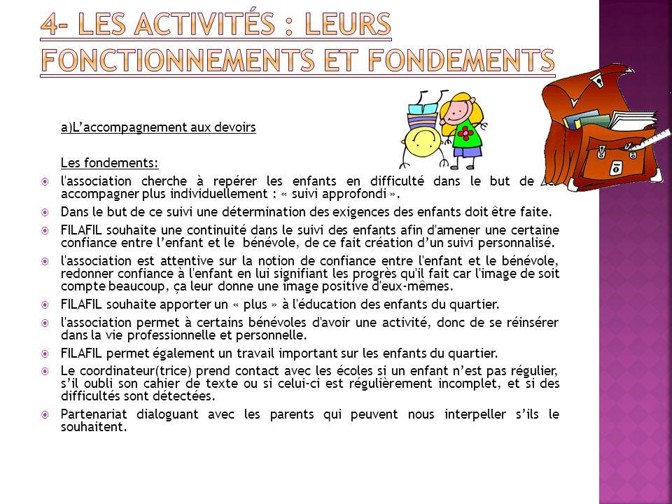 a)Laccompagnement aux devoirs Les fondements: l'association cherche à repérer les enfants en difficulté dans le but de les accompagner plus individuel