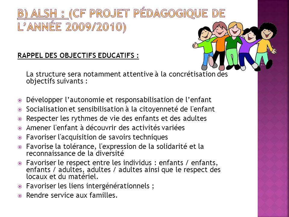RAPPEL DES OBJECTIFS EDUCATIFS : La structure sera notamment attentive à la concrétisation des objectifs suivants : Développer lautonomie et responsab