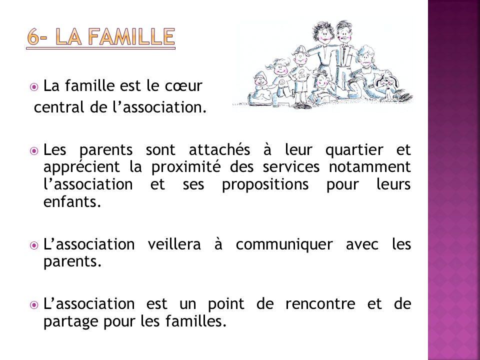 La famille est le cœur central de lassociation. Les parents sont attachés à leur quartier et apprécient la proximité des services notamment lassociati