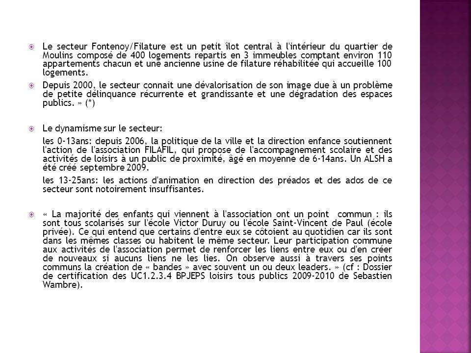 Le secteur Fontenoy/Filature est un petit îlot central à l'intérieur du quartier de Moulins composé de 400 logements repartis en 3 immeubles comptant