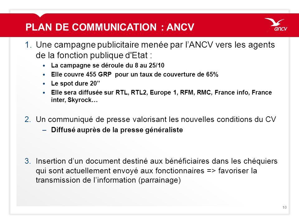 10 PLAN DE COMMUNICATION : ANCV 1.Une campagne publicitaire menée par lANCV vers les agents de la fonction publique d'Etat : La campagne se déroule du