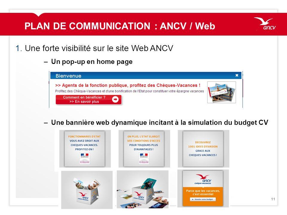 11 1.Une forte visibilité sur le site Web ANCV –Un pop-up en home page –Une bannière web dynamique incitant à la simulation du budget CV PLAN DE COMMU