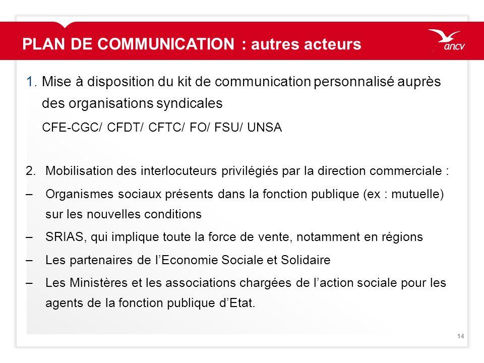 14 1.Mise à disposition du kit de communication personnalisé auprès des organisations syndicales CFE-CGC/ CFDT/ CFTC/ FO/ FSU/ UNSA 2.Mobilisation des
