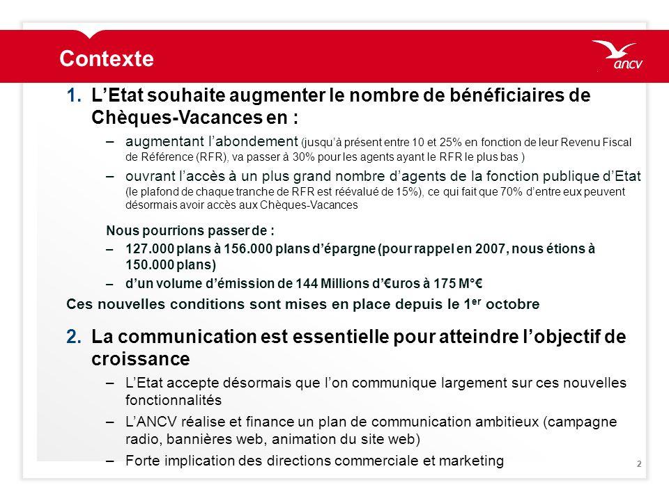22 Contexte 1.LEtat souhaite augmenter le nombre de bénéficiaires de Chèques-Vacances en : –augmentant labondement (jusquà présent entre 10 et 25% en