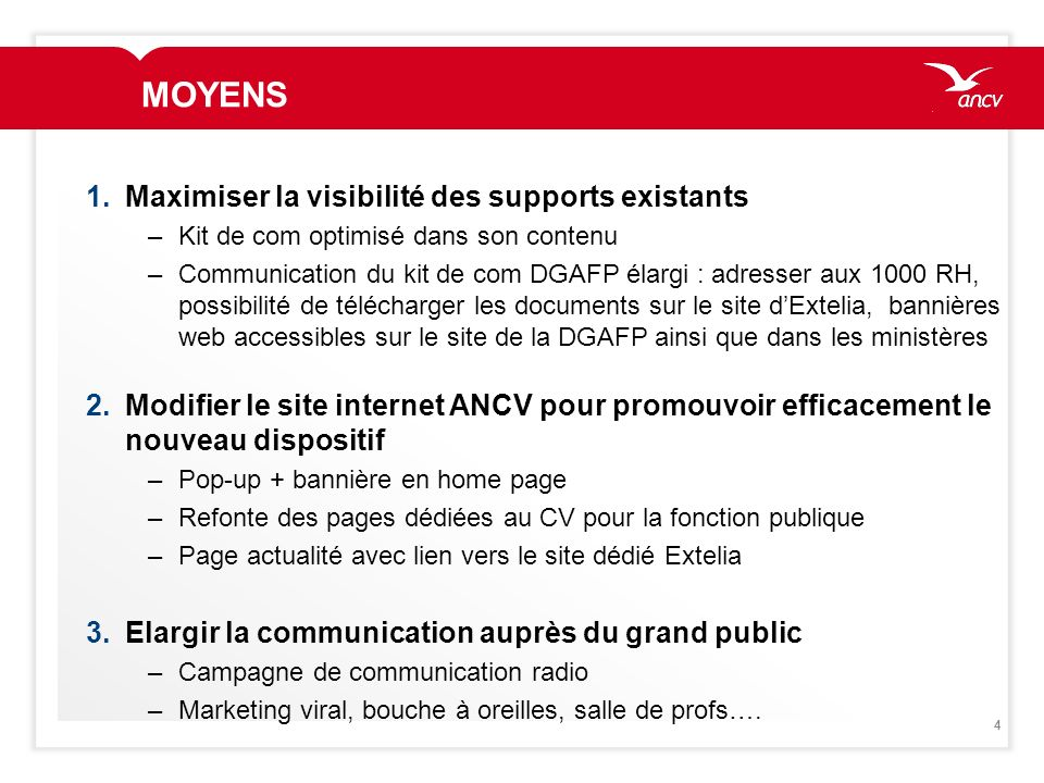 4 MOYENS 1.Maximiser la visibilité des supports existants –Kit de com optimisé dans son contenu –Communication du kit de com DGAFP élargi : adresser a