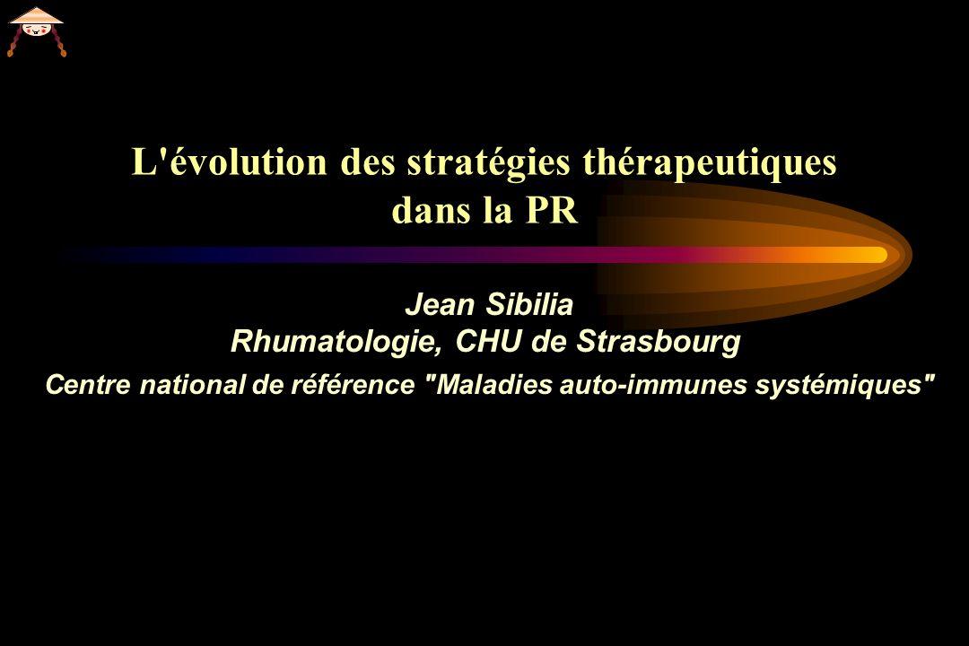 Etude BeSt: Modele matriciel predictif de la progression radiographique ( SHS 5 / an) Allaart CF 2008 pers communication <10% 10-20% 20-30% 30-40% >40% Risque de PPR* (%) *PPR= Progression Radiographique Rapide