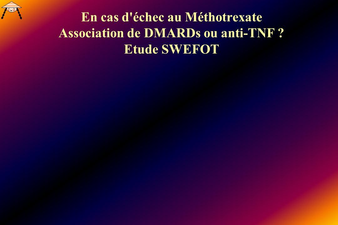 En cas d'échec au Méthotrexate Association de DMARDs ou anti-TNF ? Etude SWEFOT