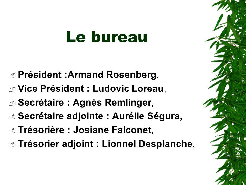 Le bureau Président :Armand Rosenberg, Vice Président : Ludovic Loreau, Secrétaire : Agnès Remlinger, Secrétaire adjointe : Aurélie Ségura, Trésorière