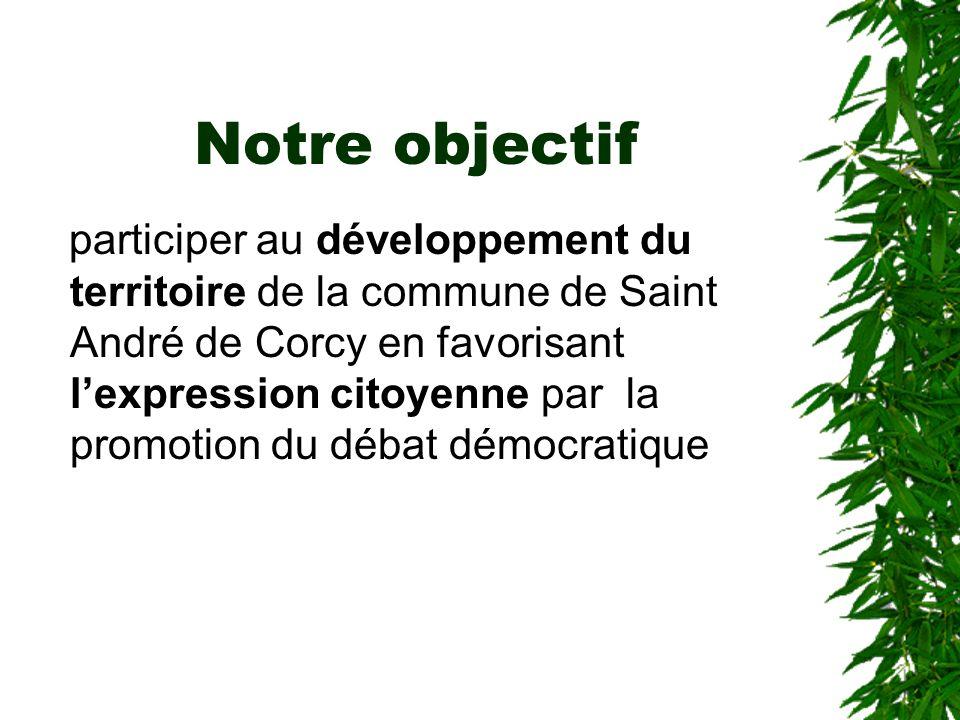 Notre objectif participer au développement du territoire de la commune de Saint André de Corcy en favorisant lexpression citoyenne par la promotion du