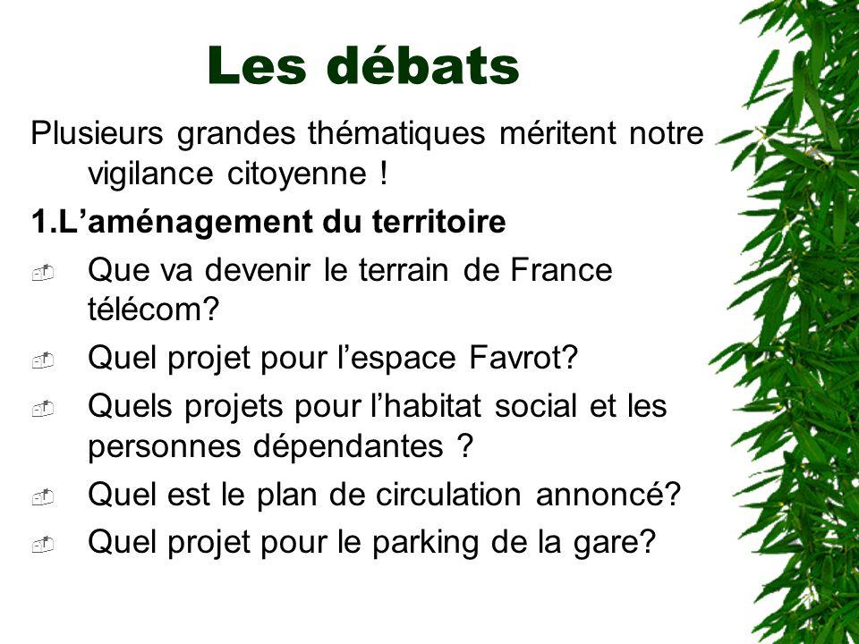 Les débats Plusieurs grandes thématiques méritent notre vigilance citoyenne ! 1.Laménagement du territoire Que va devenir le terrain de France télécom