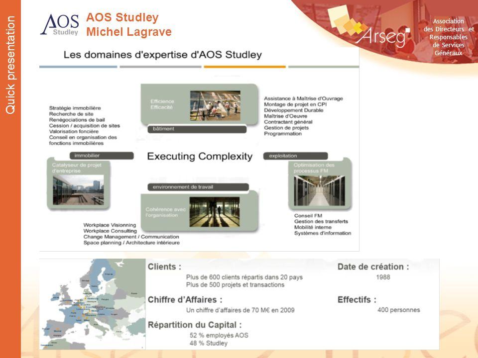 Association des Directeurs et Responsables de Services Généraux AOS Studley Michel Lagrave Quick presentation