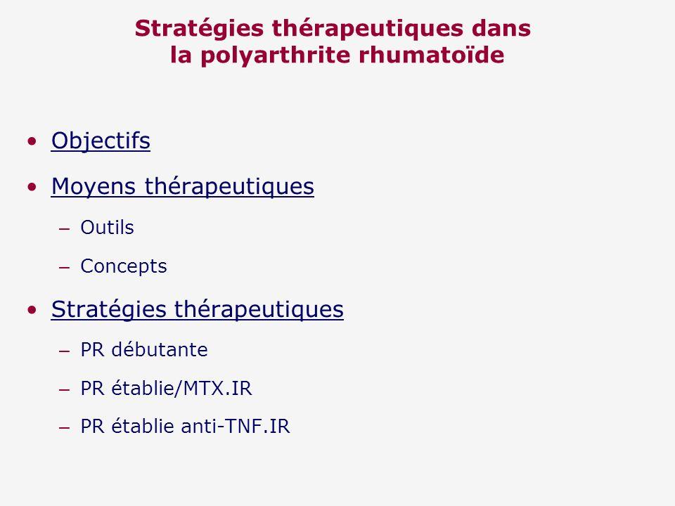 Stratégies thérapeutiques dans la polyarthrite rhumatoïde Objectifs Moyens thérapeutiques – Outils – Concepts Stratégies thérapeutiques – PR débutante – PR établie/MTX.IR – PR établie anti-TNF.IR