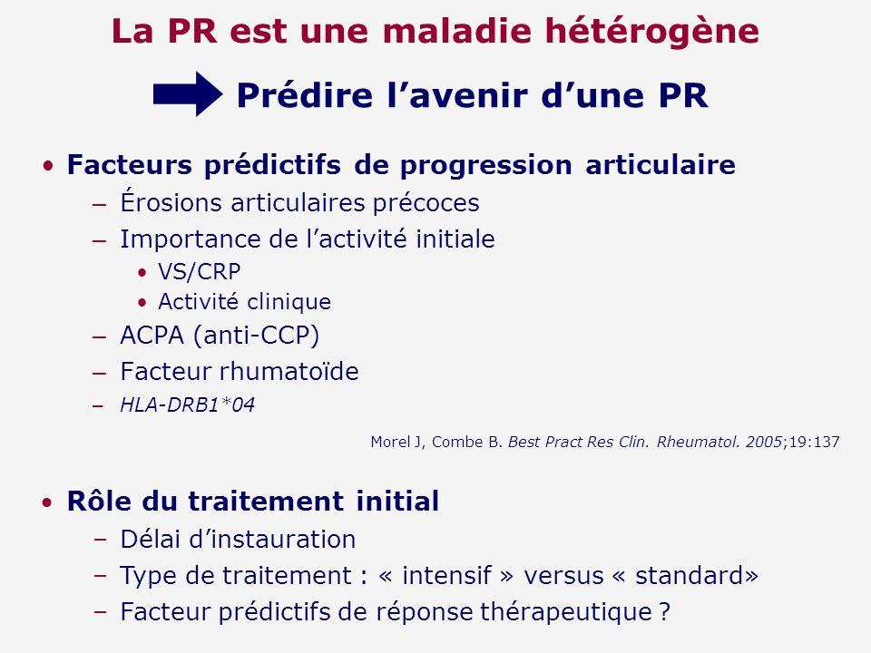 La PR est une maladie hétérogène Facteurs prédictifs de progression articulaire – Érosions articulaires précoces – Importance de lactivité initiale VS
