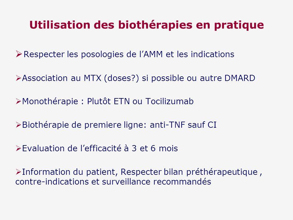 Utilisation des biothérapies en pratique Respecter les posologies de lAMM et les indications Association au MTX (doses?) si possible ou autre DMARD Mo