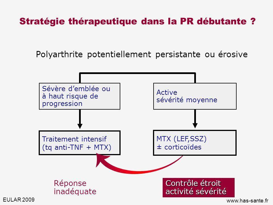 Stratégie thérapeutique dans la PR débutante ? Polyarthrite potentiellement persistante ou érosive Traitement intensif (tq anti-TNF + MTX) Réponse ina