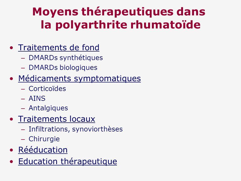 Moyens thérapeutiques dans la polyarthrite rhumatoïde Traitements de fond – DMARDs synthétiques – DMARDs biologiques Médicaments symptomatiques – Cort