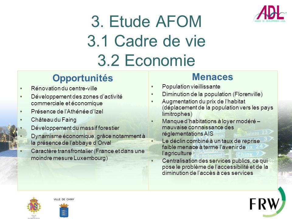 3. Etude AFOM 3.1 Cadre de vie 3.2 Economie Opportunités Rénovation du centre-ville Développement des zones dactivité commerciale et économique Présen