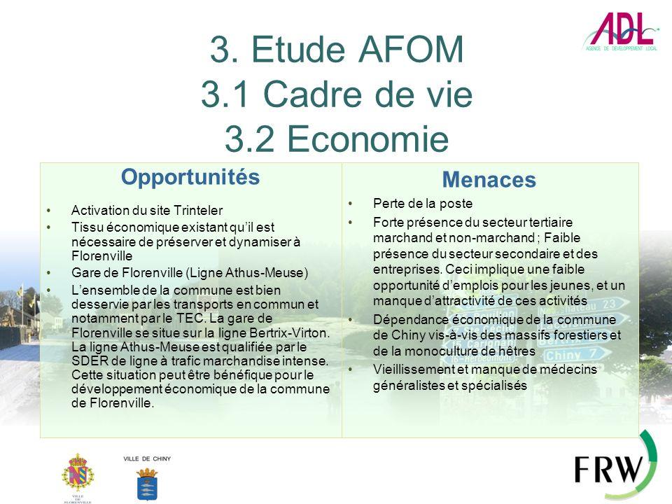 3. Etude AFOM 3.1 Cadre de vie 3.2 Economie Opportunités Activation du site Trinteler Tissu économique existant quil est nécessaire de préserver et dy