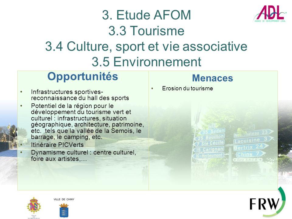 3. Etude AFOM 3.3 Tourisme 3.4 Culture, sport et vie associative 3.5 Environnement Opportunités Infrastructures sportives- reconnaissance du hall des