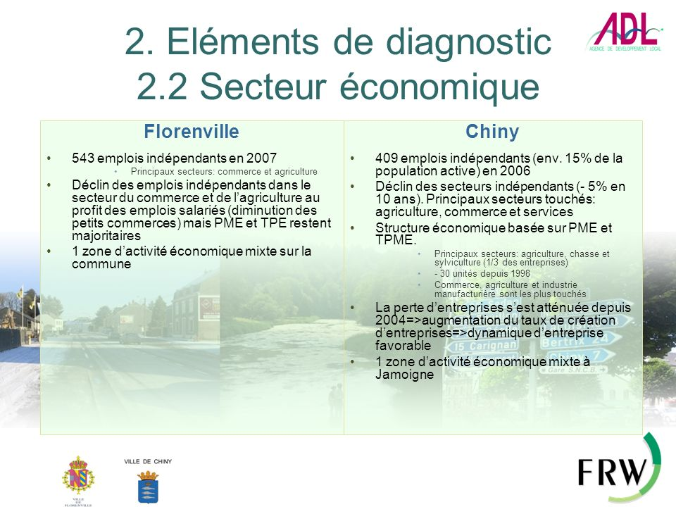 2. Eléments de diagnostic 2.2 Secteur économique Florenville 543 emplois indépendants en 2007 Principaux secteurs: commerce et agriculture Déclin des