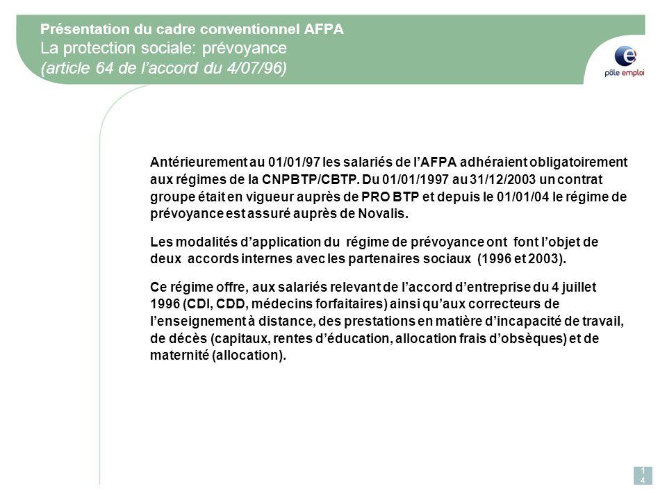 Présentation du cadre conventionnel AFPA La protection sociale: prévoyance (article 64 de laccord du 4/07/96) Antérieurement au 01/01/97 les salariés de lAFPA adhéraient obligatoirement aux régimes de la CNPBTP/CBTP.
