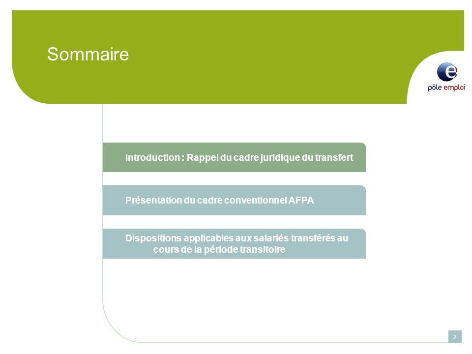 Sommaire Introduction : Rappel du cadre juridique du transfert Présentation du cadre conventionnel AFPA Dispositions applicables aux salariés transférés au cours de la période transitoire 2