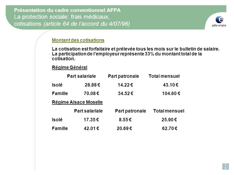 Présentation du cadre conventionnel AFPA La protection sociale: frais médicaux, cotisations (article 64 de laccord du 4/07/96) Montant des cotisations La cotisation est forfaitaire et prélevée tous les mois sur le bulletin de salaire.