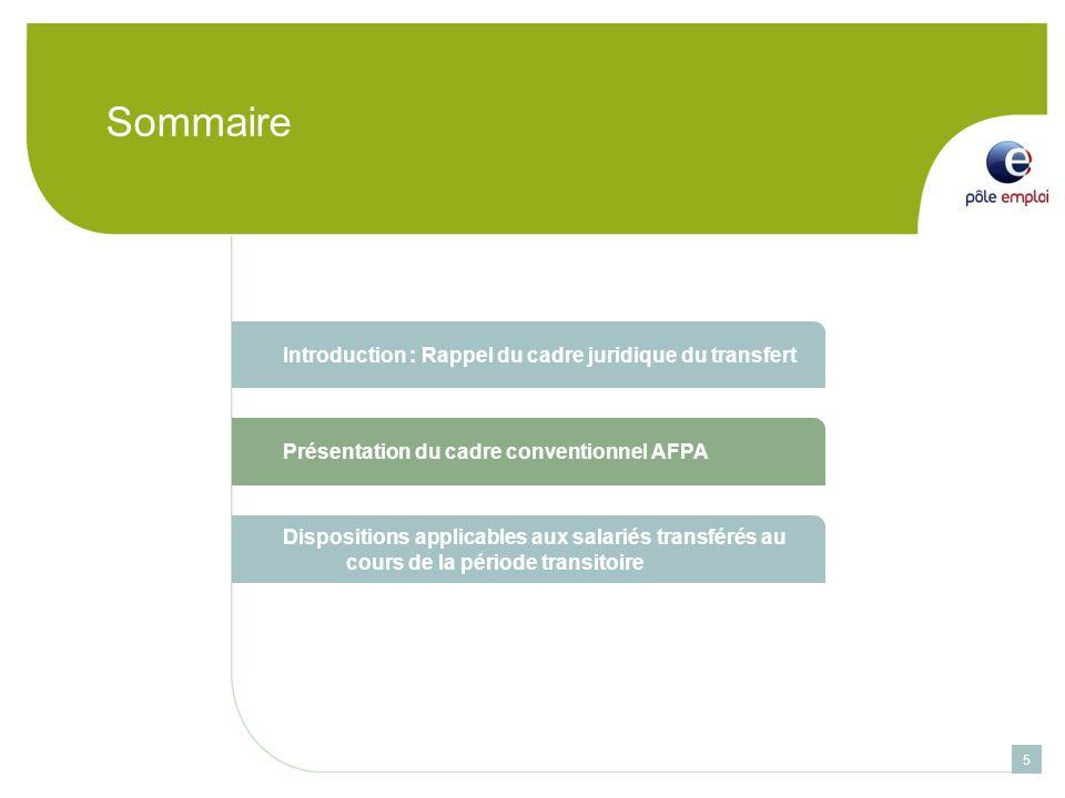 Sommaire 5 Introduction : Rappel du cadre juridique du transfert Présentation du cadre conventionnel AFPA Dispositions applicables aux salariés transférés au cours de la période transitoire