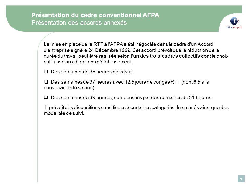 9 Présentation du cadre conventionnel AFPA Présentation des accords annexés La mise en place de la RTT à l AFPA a été négociée dans le cadre d un Accord d entreprise signé le 24 Décembre 1999.