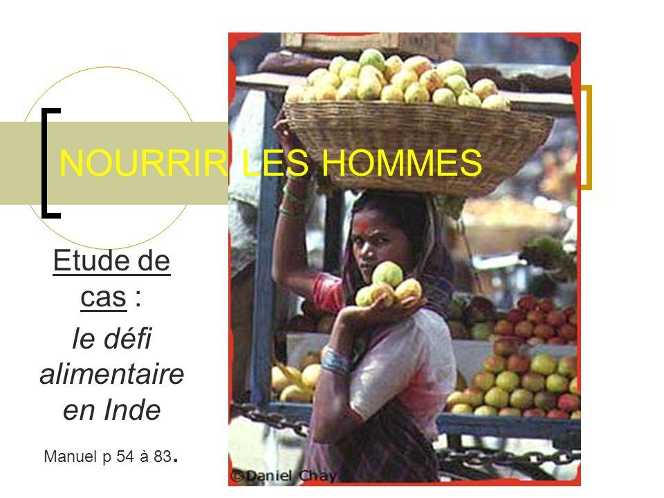 NOURRIR LES HOMMES Etude de cas : le défi alimentaire en Inde Manuel p 54 à 83.