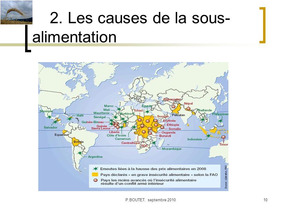 2. Les causes de la sous- alimentation P.BOUTET. septembre 201010